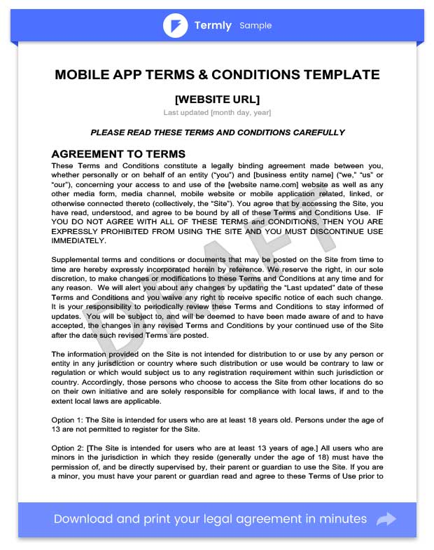 Mobile App Terms and Condition Template