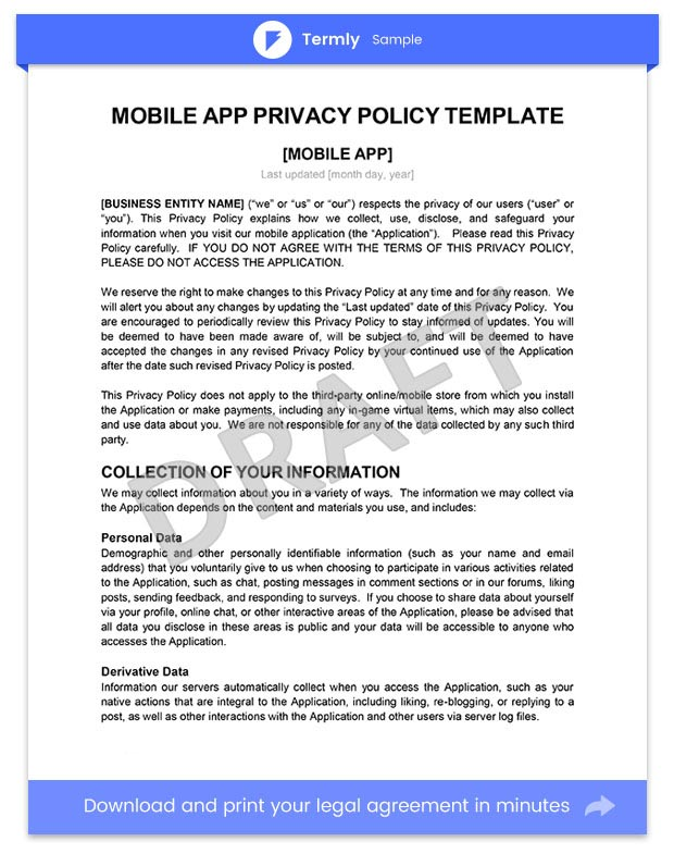 sample privacy policy for mobile apps template guide termly. Black Bedroom Furniture Sets. Home Design Ideas