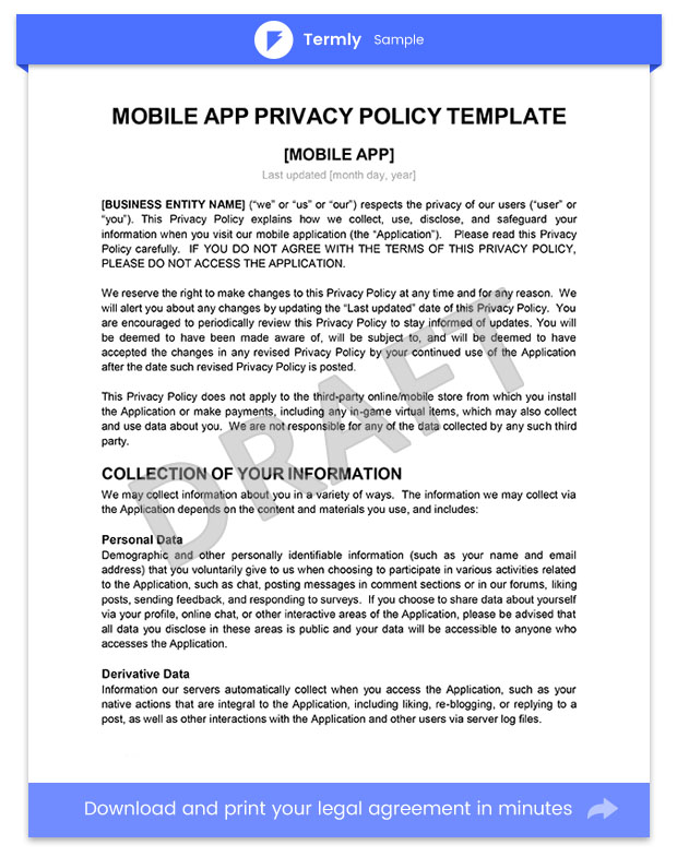 Sample Privacy Policy For Mobile Apps Template  Guide  Termly