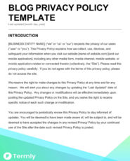 blog privacy policy template