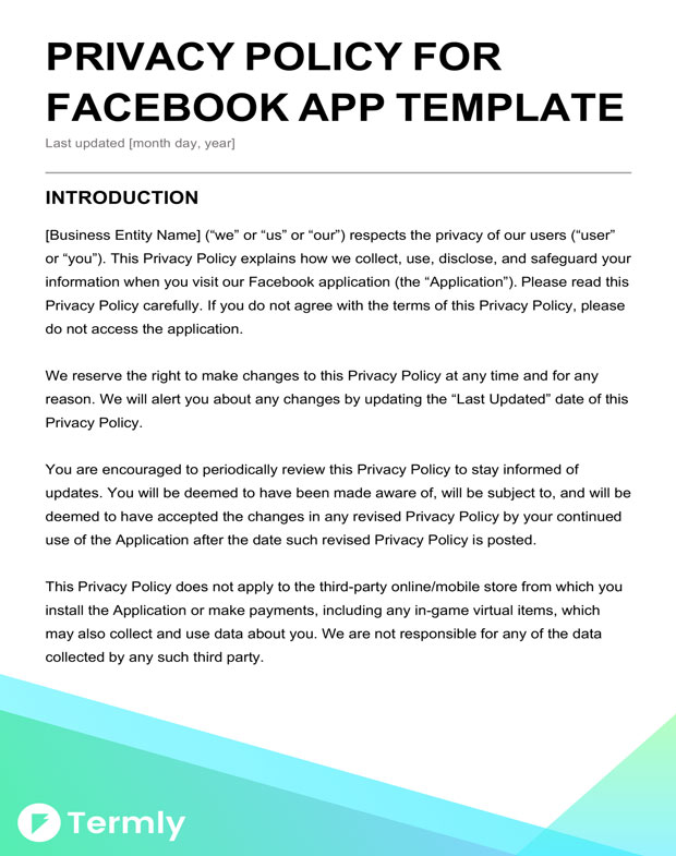 facebook app privacy policy template