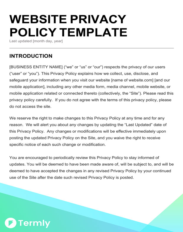 Free Privacy Policy Templates Website Mobile FB App Termly - Website privacy policy template