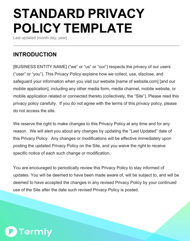 Downloadable Privacy Policy Templates
