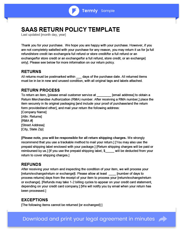refund cancellation policy template - return policy template examples free to download termly