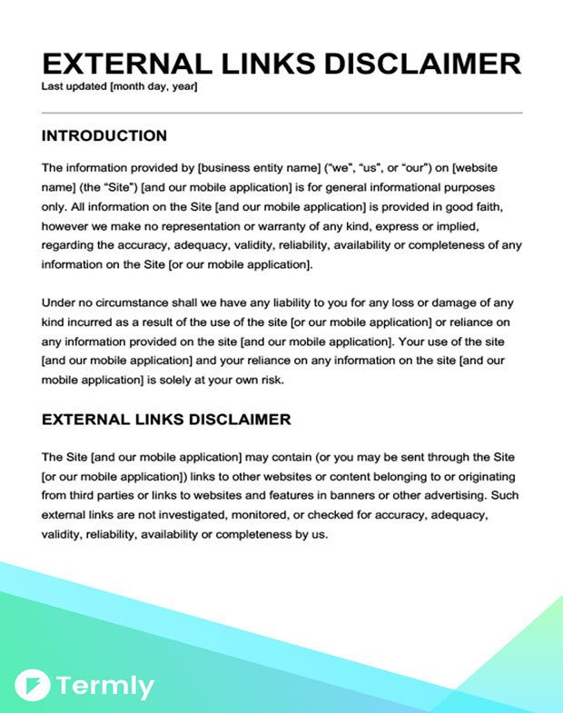 Free Legal Disclaimer Templates Examples Download Now Termly