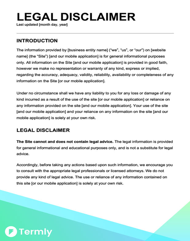 Free legal disclaimer templates examples download now termly health disclaimer termly legal disclaimer template wajeb Gallery