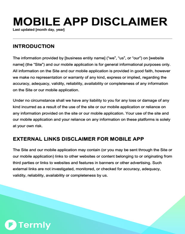 Free legal disclaimer templates examples download now for Mobile app privacy policy template