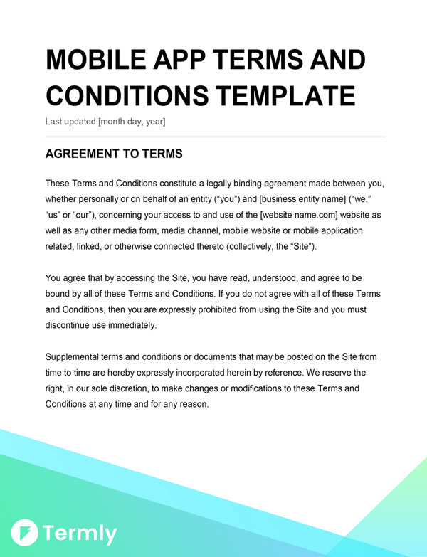 Mobile app terms conditions template writing guide for Terms and conditions of service template