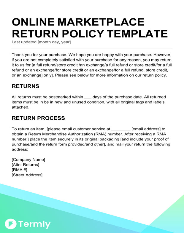 return policy template for an online marketplace