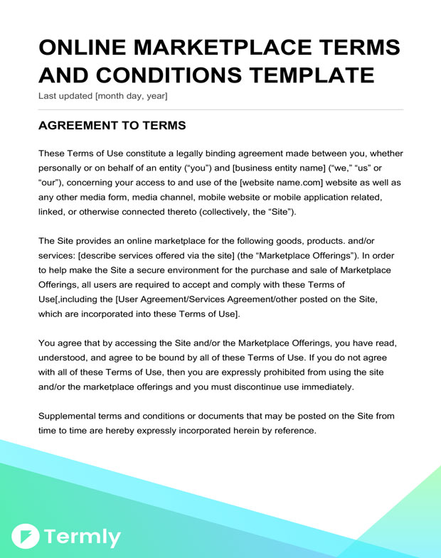 Free Terms Conditions Templates Downloadable Samples Termly