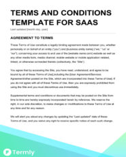 terms and conditions template for saas