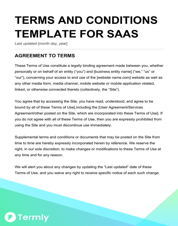 Free terms conditions templates downloadable samples termly saas terms conditions friedricerecipe Choice Image