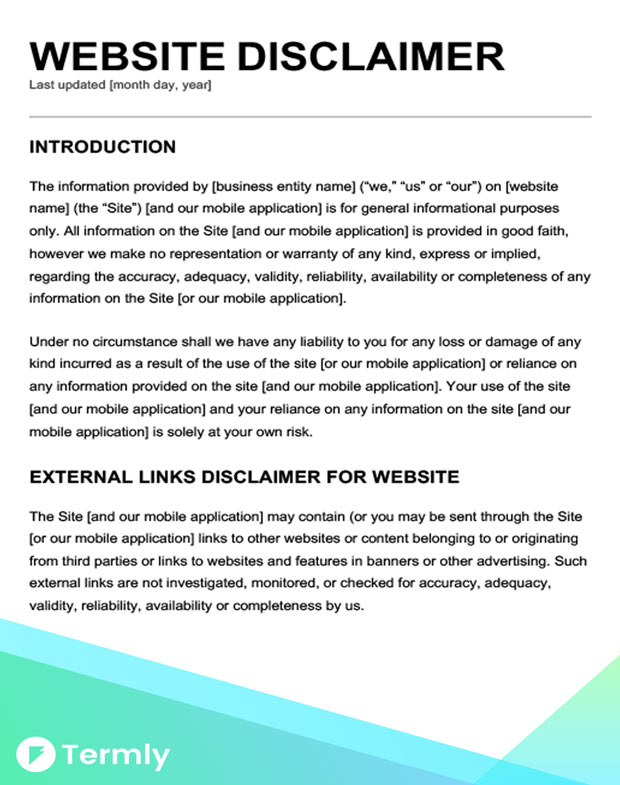 Website content template image collections template for Terms and conditions template usa