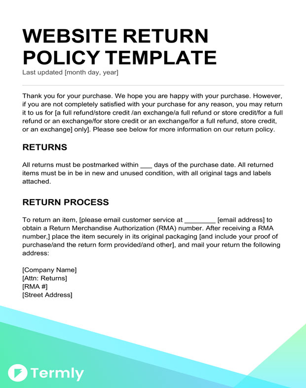 Return policy templates examples free to download termly for Shipping and return policy template