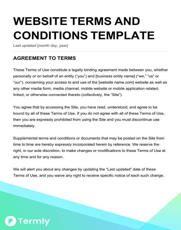 free terms conditions templates downloadable samples termly. Black Bedroom Furniture Sets. Home Design Ideas