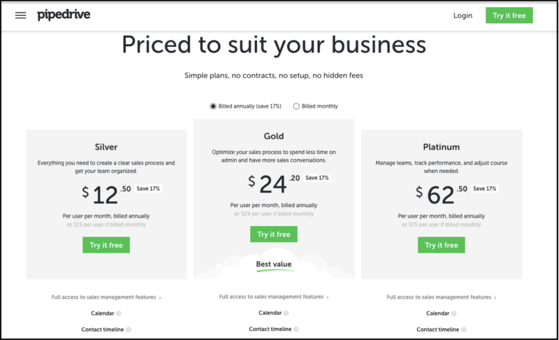 Pipedrive CRM pricing page
