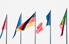 european flags with German flag in the front
