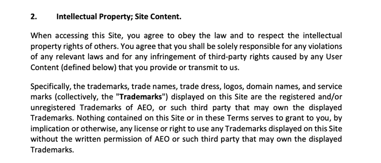 intellectual property clause in american eagle's terms and conditions for online clothing store