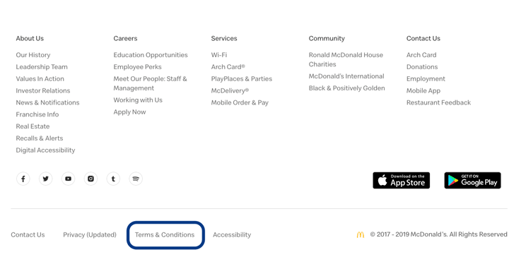 McDonald's Online Services Terms and Conditions Highlighted in Footer