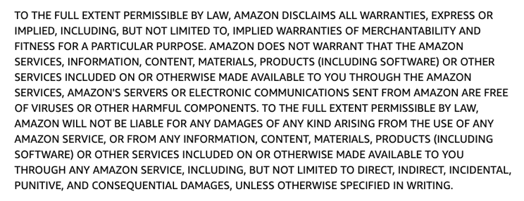 Amazon's disclaimer of warranties