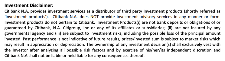 Citibank's investment disclaimer