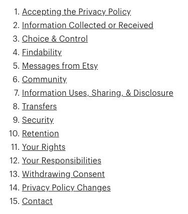 Etsy's GDPR privacy statement contents