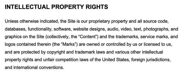 An example of intellectual property rights disclaimer clause