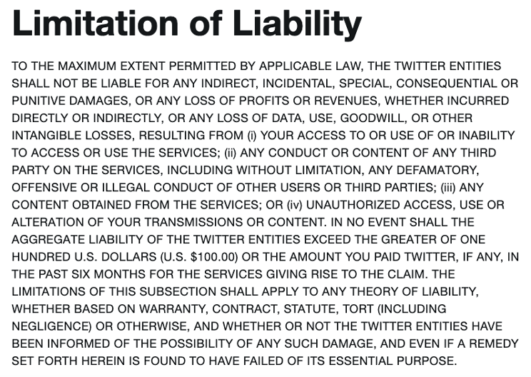 Twitter's limitation of liability disclaimer