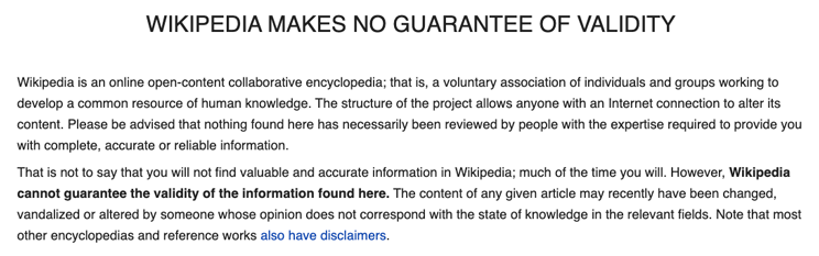 Wikipedia's no guarantee disclaimer