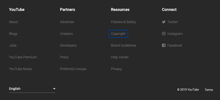 Copyright highlighted in YouTube's site footer