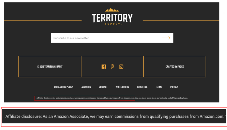 "The amazon affiliate disclosure in the footer area of the website ""Territory Supply"""