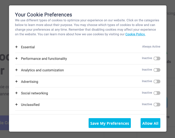 cookie preference center