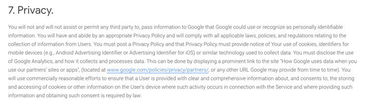 Clause 7 from Google's Terms of Service