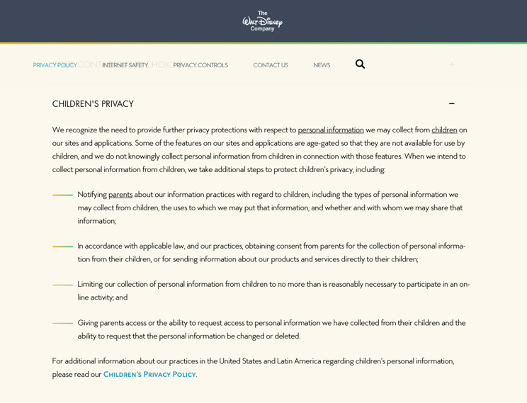 example of a children's privacy policy template from the walt disney company