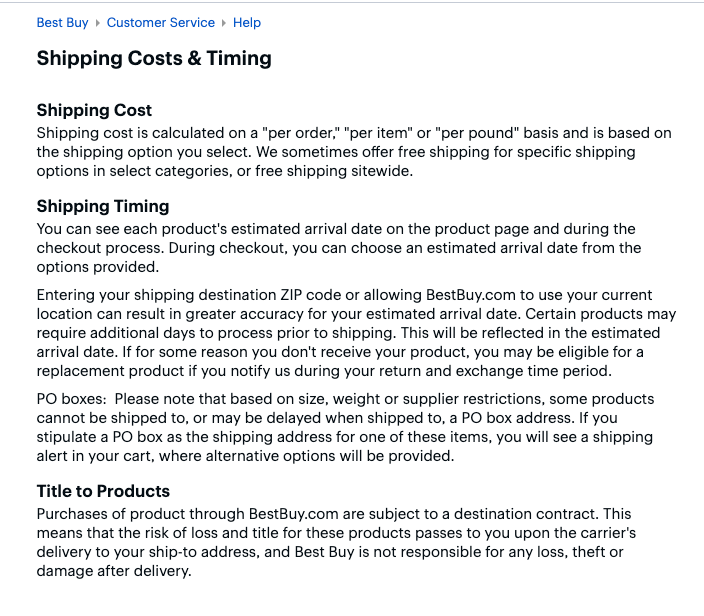 shipping policy example from best buy