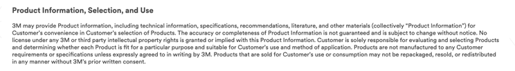 3M's product disclaimer
