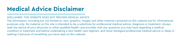 Axia's medical advice disclaimer example