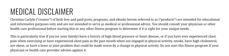 Christina Carlyle fitness program disclaimer example