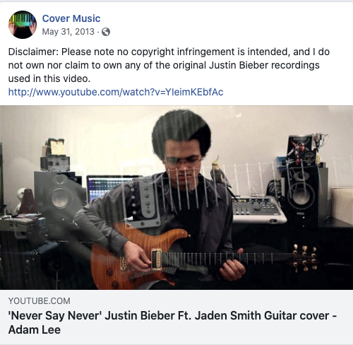 example of a copyright disclaimer for facebook from cover music