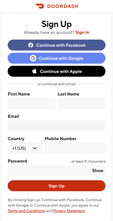 door dash terms and conditions