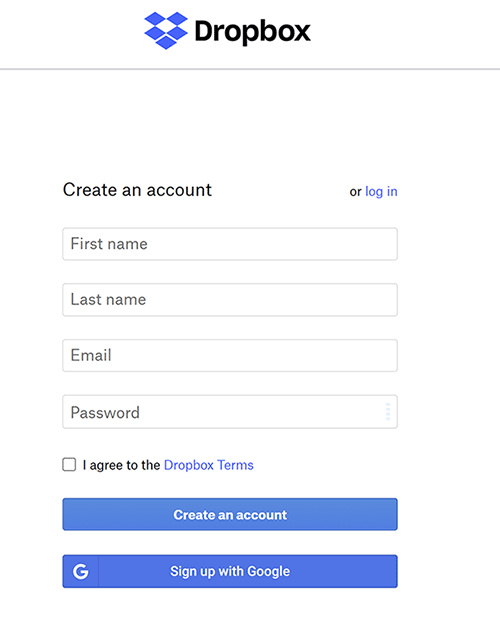 dropbox terms and conditions checkbox example