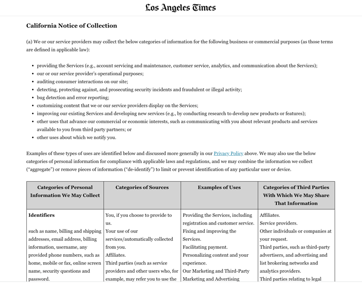 la times ccpa notice of collection