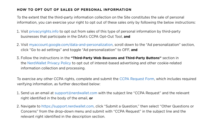 nerdwallet example ccpa privacy policy