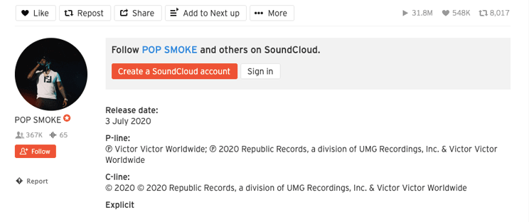 sample music copyright disclaimer on soundcloud
