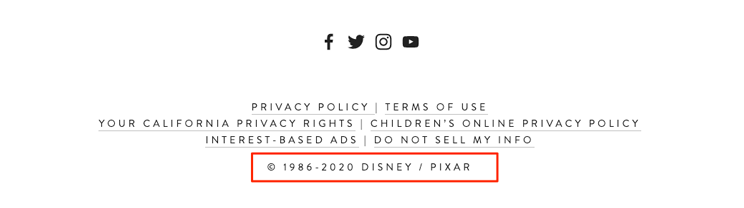 Pixar Animation copyright footer example